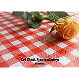 Motif vichy Rouge et Blanc à carreaux, de qualité supérieure, en relief, Nappe en toile cirée, facile à nettoyer, vinyle, PVC, 140x 200cm.