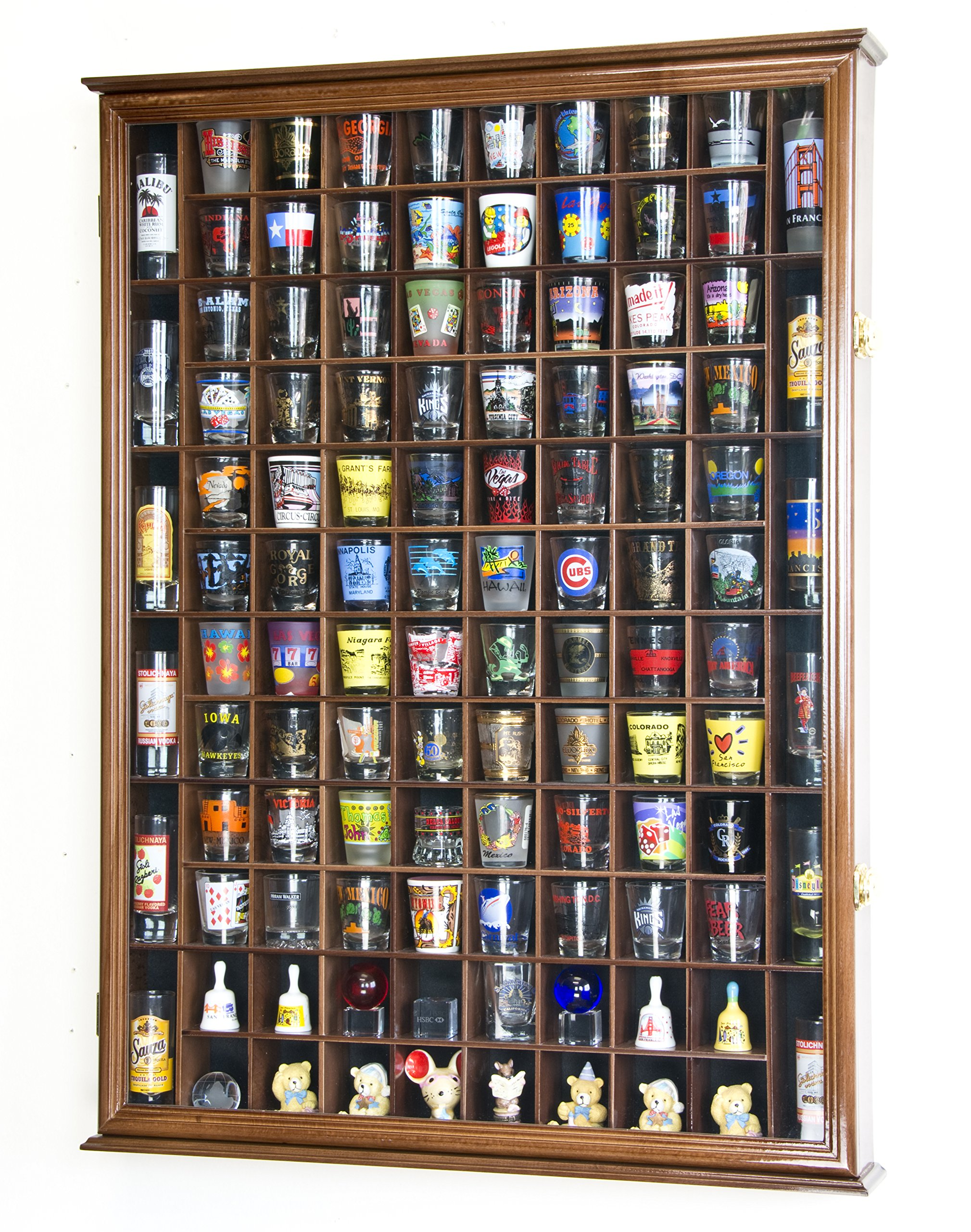 108 Shot Glass Shooter Display Case Holder Cabinet Wall Rack w/ UV Protection -Walnut