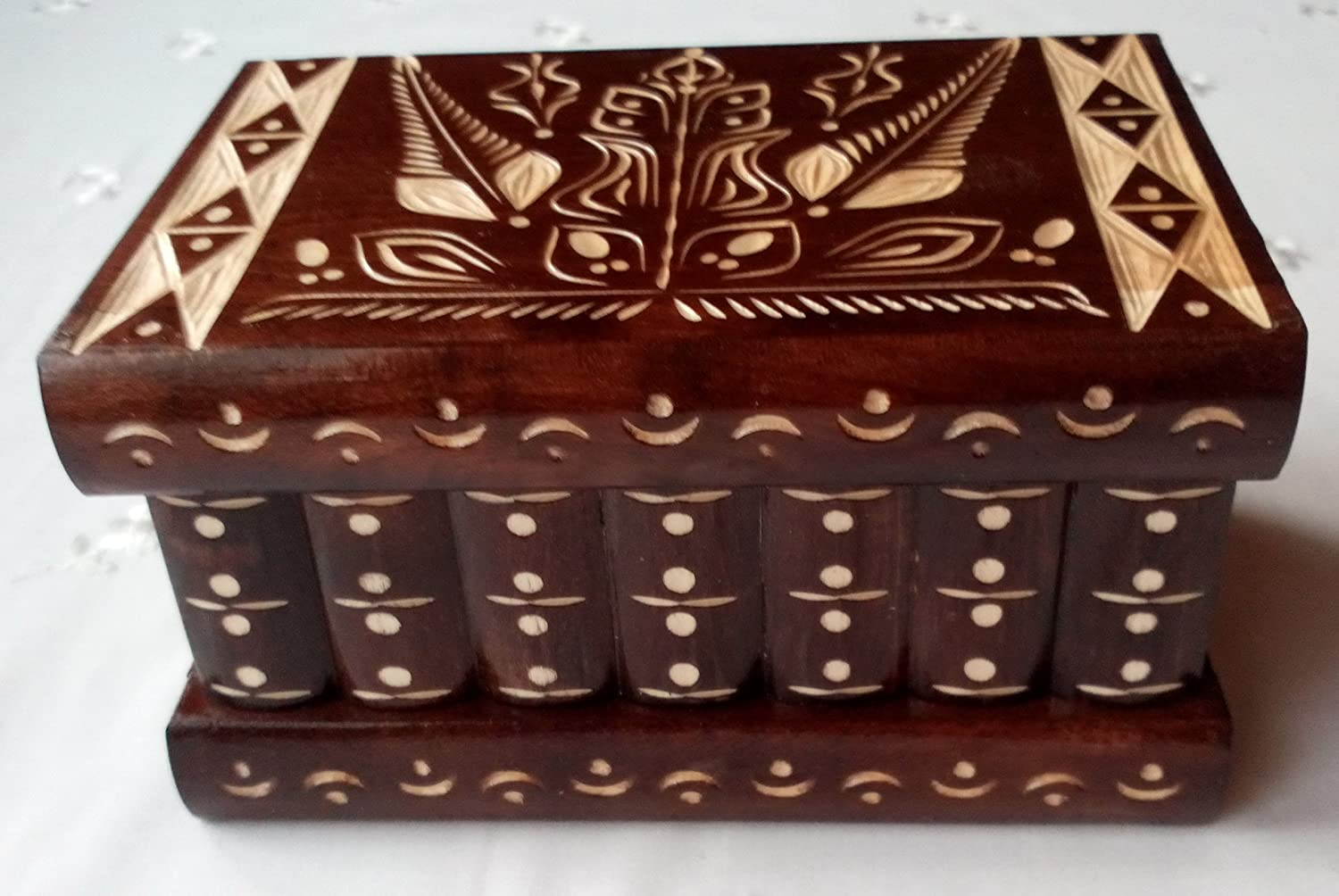 New brown puzzle box magic mystery secret box tricky handcarved wooden box case jewelry box home decor brain teaser treasure