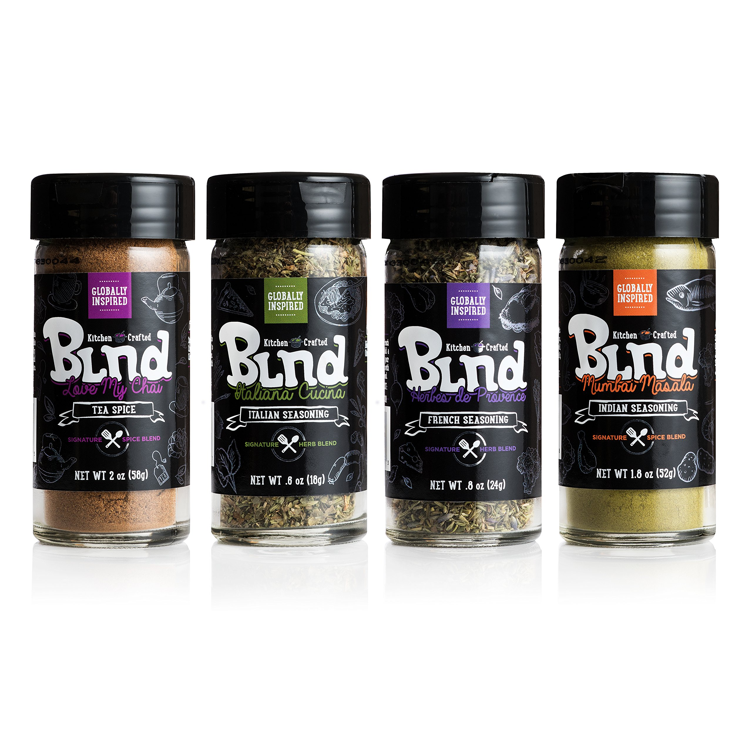 Kitchen Crafted Blnd 100% Natural Non-GMO Savor Your Flavor Spice Combo Pack, Gluten Free, Pack of 4