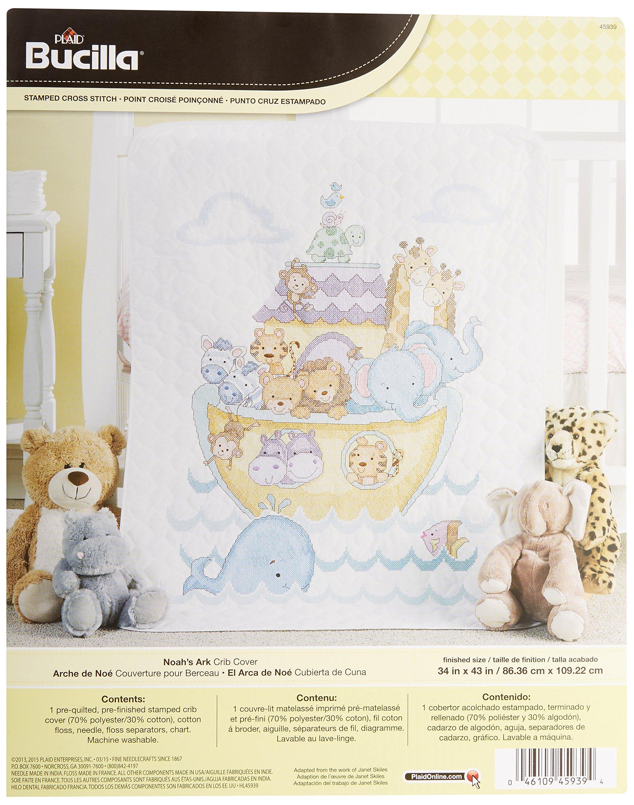 Bucilla Stamped Cross Stitch Crib Cover Kit, 34 by 43-Inch, 45939  Noah's Ark by Bucilla