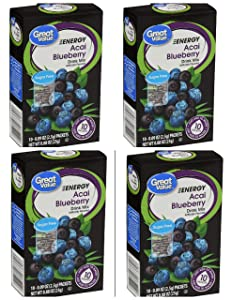 Great Value Energy Acai Blueberry Sugar-Free Drink Mix: 4 box count (40 packets)