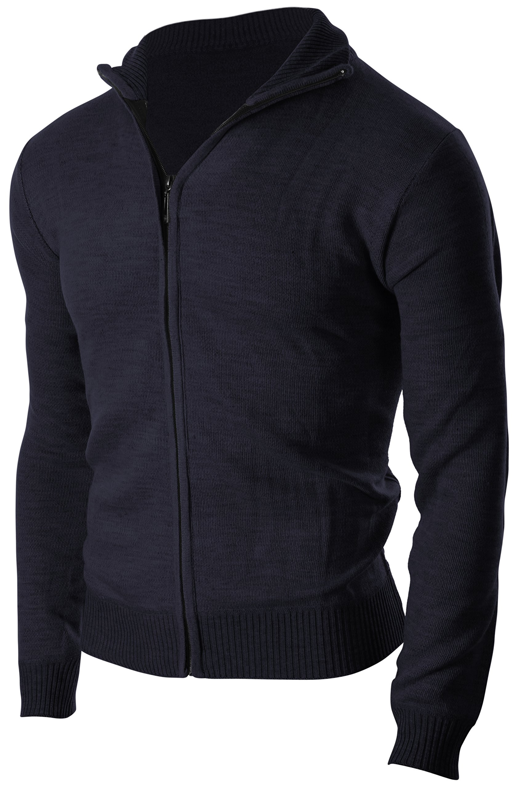 Enimay Men's Soft Casual Business Casual Full Zip Up Turtleneck Sweater Cardigan Navy XX-Large by Enimay