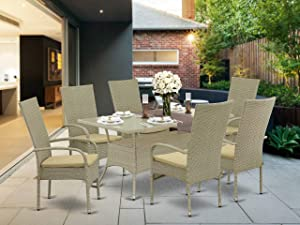 East West Furniture OSOS703A 7Pc Outdoor Natural Color Wicker Dining Set Includes a Patio Table and 6 Balcony Backyard Armchair with Linen Fabric Cushion