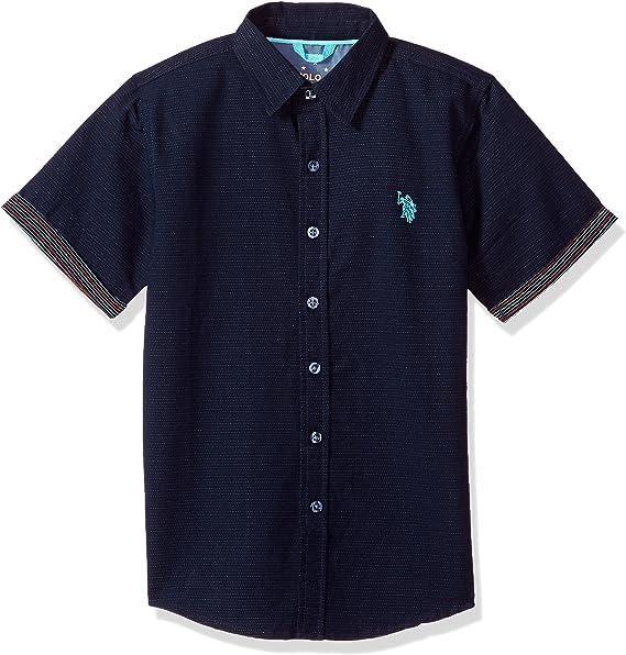 U.S Boys Short Sleeve Woven Shirt Polo Assn 2 Pack