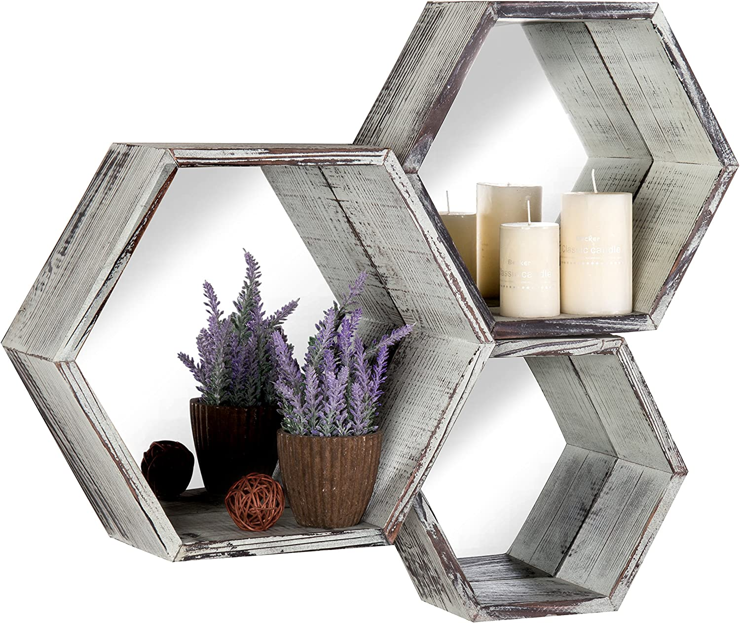 Rustic Torched Wood Hexagon Wall Mounted Floating Shelves with Mirrored Backing, Set of 3