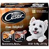 CESAR Home Delights Wet Dog Food - 6 Beef Stew and 6 Hearty Chicken and Noodle Dinner in Sauce, 12x100g Trays
