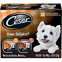 CESAR Home Delights Wet Dog Food - 6 Beef Stew and 6 Hearty Chicken and Noodle Dinner in Sauce, 12x100g