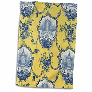 """3D Rose Garden French Yellow and Blue. Popular Toile Print Hand Towel 15"""" x 22"""""""