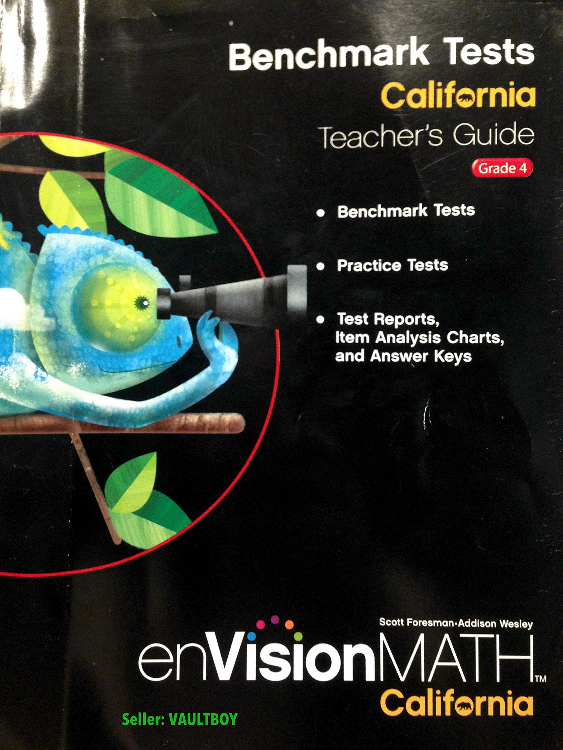 Benchmark Tests Grade 4 California Teachers Edition Envision Math Hardcover 2009