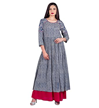 e898a1d5749 Missprint Women s Double Layered Indigo Chevron Style Hand Block Printed  Round Neck 3 4 Sleeve Indo Western Dress  Amazon.in  Clothing   Accessories