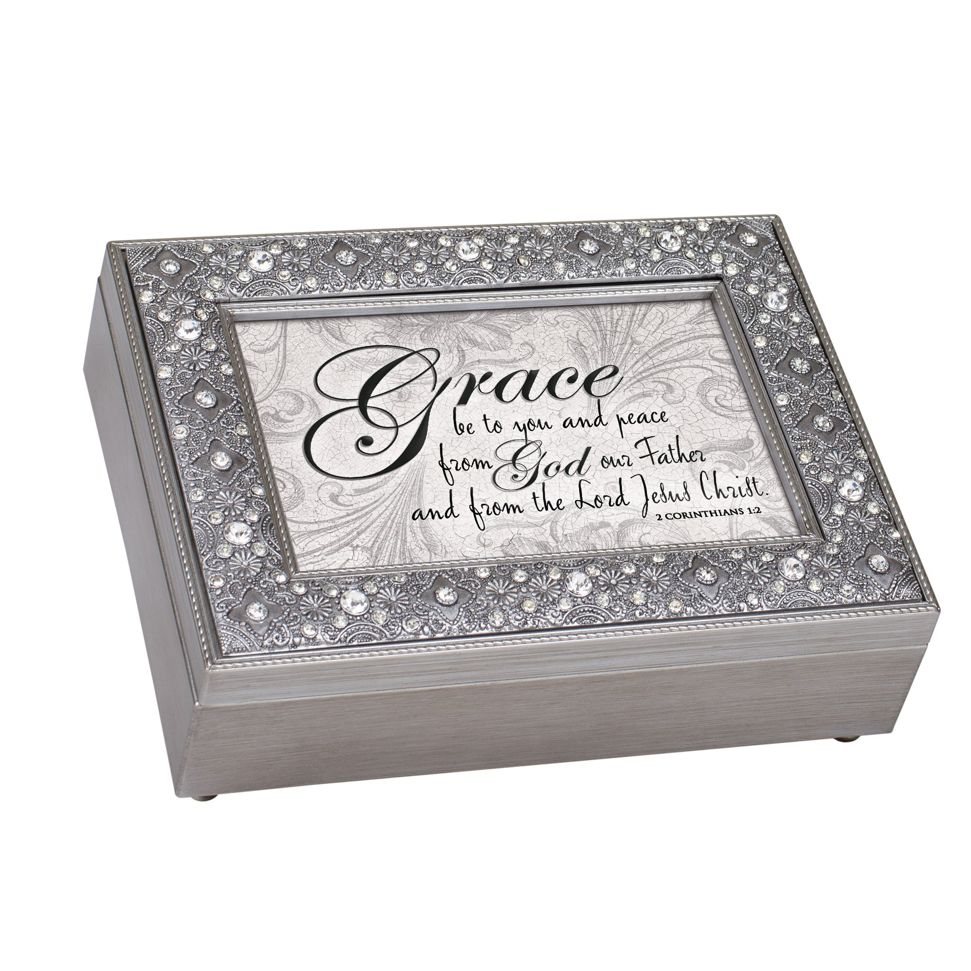 Cottage Garden Grace Peace From God Filigree Jewel Bead Silver Tone Music Box Plays Amazing Grace by Cottage Garden