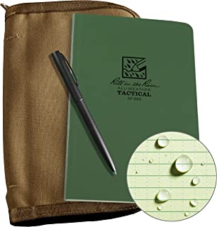 """product image for Rite In The Rain Weatherproof Tactical Field Kit: Tan CORDURA Fabric Cover, 4.625"""" x 7.25"""" Green Tactical Notebook, and Weatherproof Pen (No. 980-KIT), 8.5 x 5.5 x 0.625"""