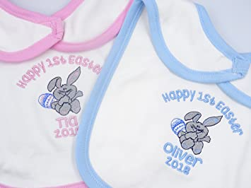 Personalised embroidered happy 1st easter baby boy girl bib with personalised embroidered happy 1st easter baby boy girl bib with bunny and egg detail negle Images