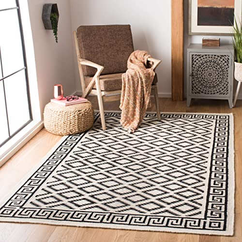 Safavieh Dhurries Collection DHU411A Hand Woven Ivory and Black Premium Wool Area Rug 9 x 12
