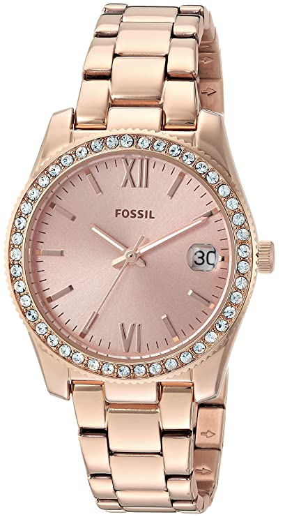 Fossil Analog Rose Gold Dial Women's Watch-ES4318 Women's Watches at amazon