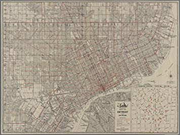Amazon.com: Map Poster - Street guide of Detroit, Highland Park ...