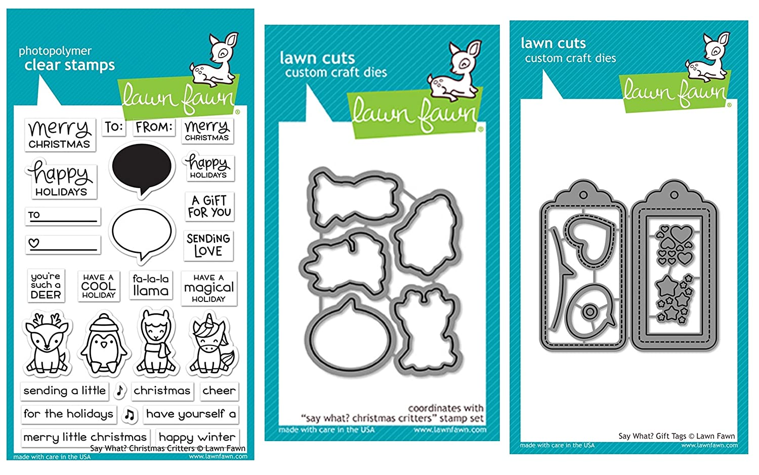 Lawn Fawn Say What? Christmas Critters Clear Stamps, Coordinating Dies and Coordinating Say What Gift Tags, Bundle of Three Items (LF1778, LF1779, LF1780)