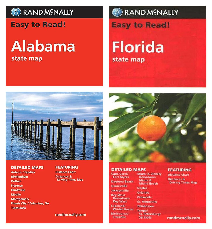 Amazoncom Rand Mcnally State Maps Alabama And Florida 2 Maps