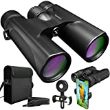 Waterproof 10x42 Binoculars For Adults. Lightweight Compact Binoculars 10x42 Prism BAK4. HD Binoculars For Bird Watching Hunting Traveling And Sightseeing With Smartphone Adapter