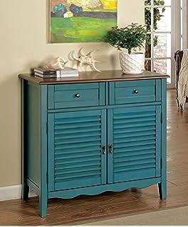 Furniture Of America Mallia Country Louver Storage Cabinet, Blue