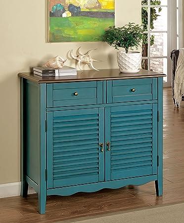 Wondrous Furniture Of America Mallia Country Louver Storage Cabinet Blue Download Free Architecture Designs Grimeyleaguecom