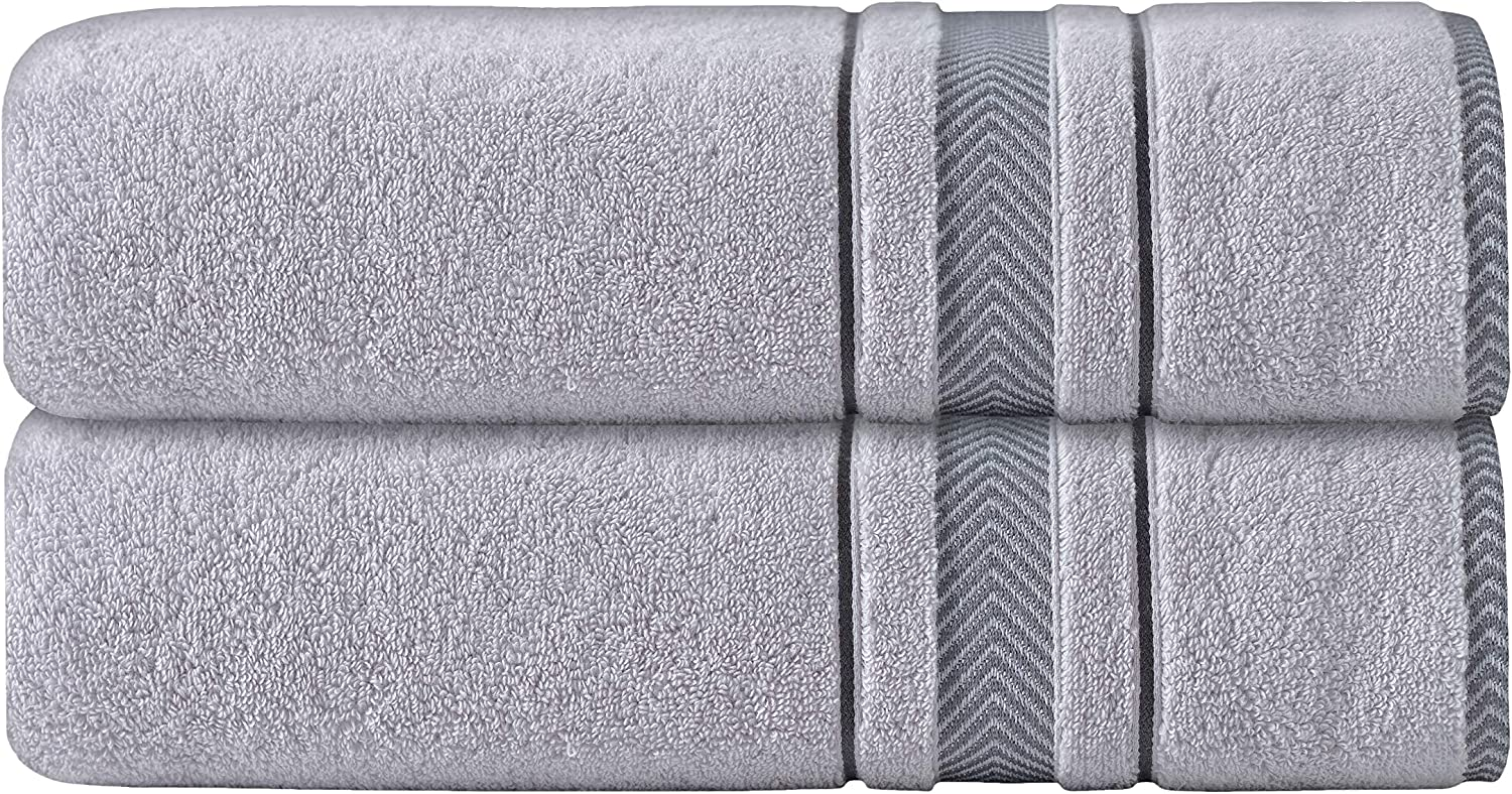 """AROW9 - 2-Pack Luxury Plush Soft Bath Sheet Towel Set for Home Bathroom & Spa - 100% Turkish Quality Cotton, Absorbent - """"Dove's Comfort"""" Design - Silver Grey: Home & Kitchen"""