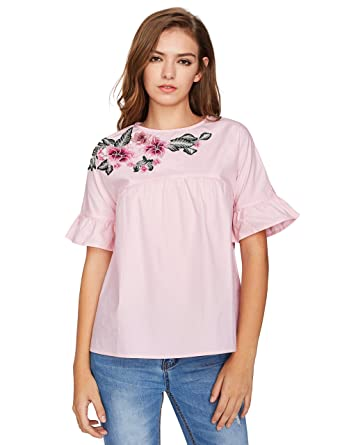 3fefcfb0527c50 Floerns Women s Flower Embroidery Loose Casual Babydoll Top Blouse Pink XS