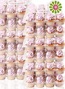 (12Pack x 12 Sets) STACK'nGO Cupcake Carriers - High Tall Dome Clear Containers Thick Plastic Disposable Storage Boxes. 1 Dozen Compartments Slots Holder Cupcakes Box Tray Container. Cup Cake Holders