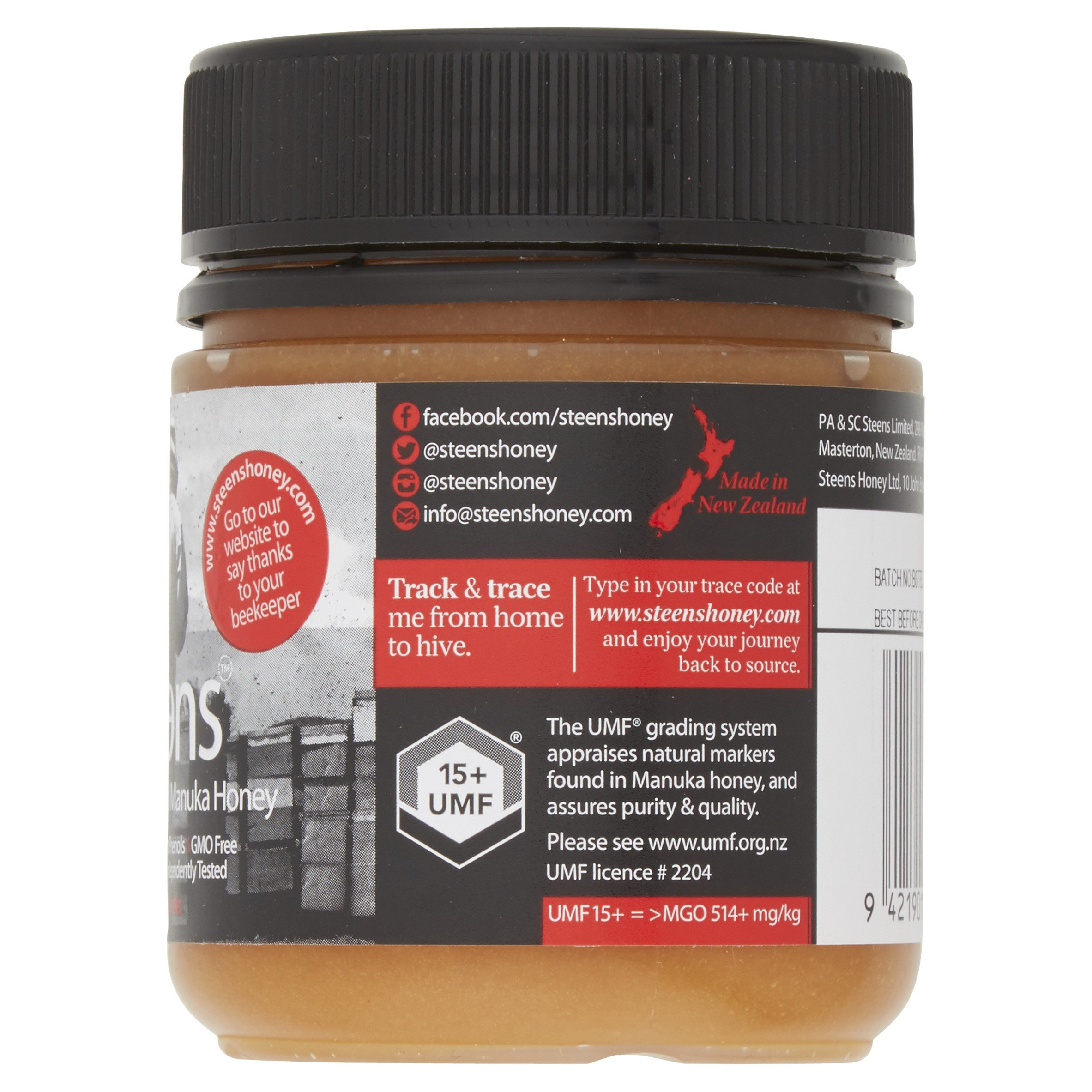 Steens Manuka Honey UMF 15 (MGO 514) 8.8 Ounce jar | Pure Raw Unpasteurized Honey From New Zealand NZ | Traceability Code on Each Label by Steens (Image #5)