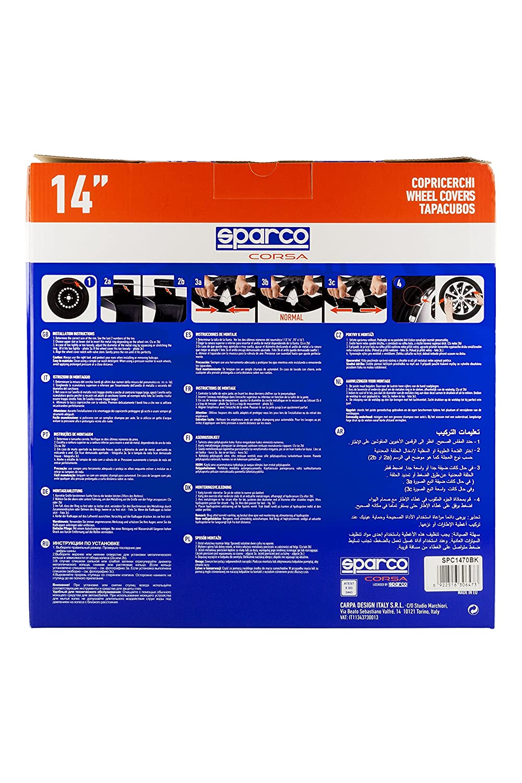 14 Noir//Rouge SPARCO SPC1473BKRD Enjoliveur Sicilia Set de 4