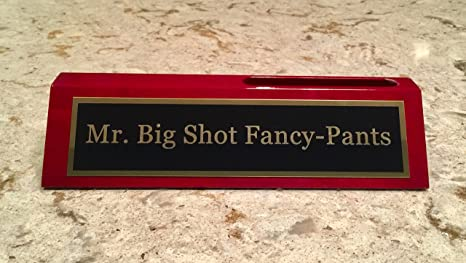 Amazon mr big shot fancy pants desk plate w business card mr big shot fancy pants desk plate w business card holder funny gift colourmoves