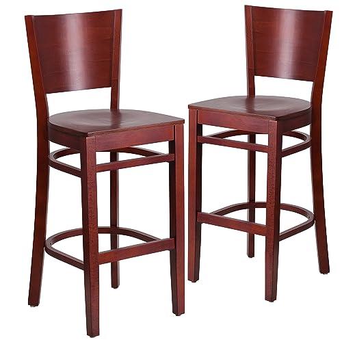 Flash Furniture 2 Pk. Lacey Series Solid Back Mahogany Wood Restaurant Barstool