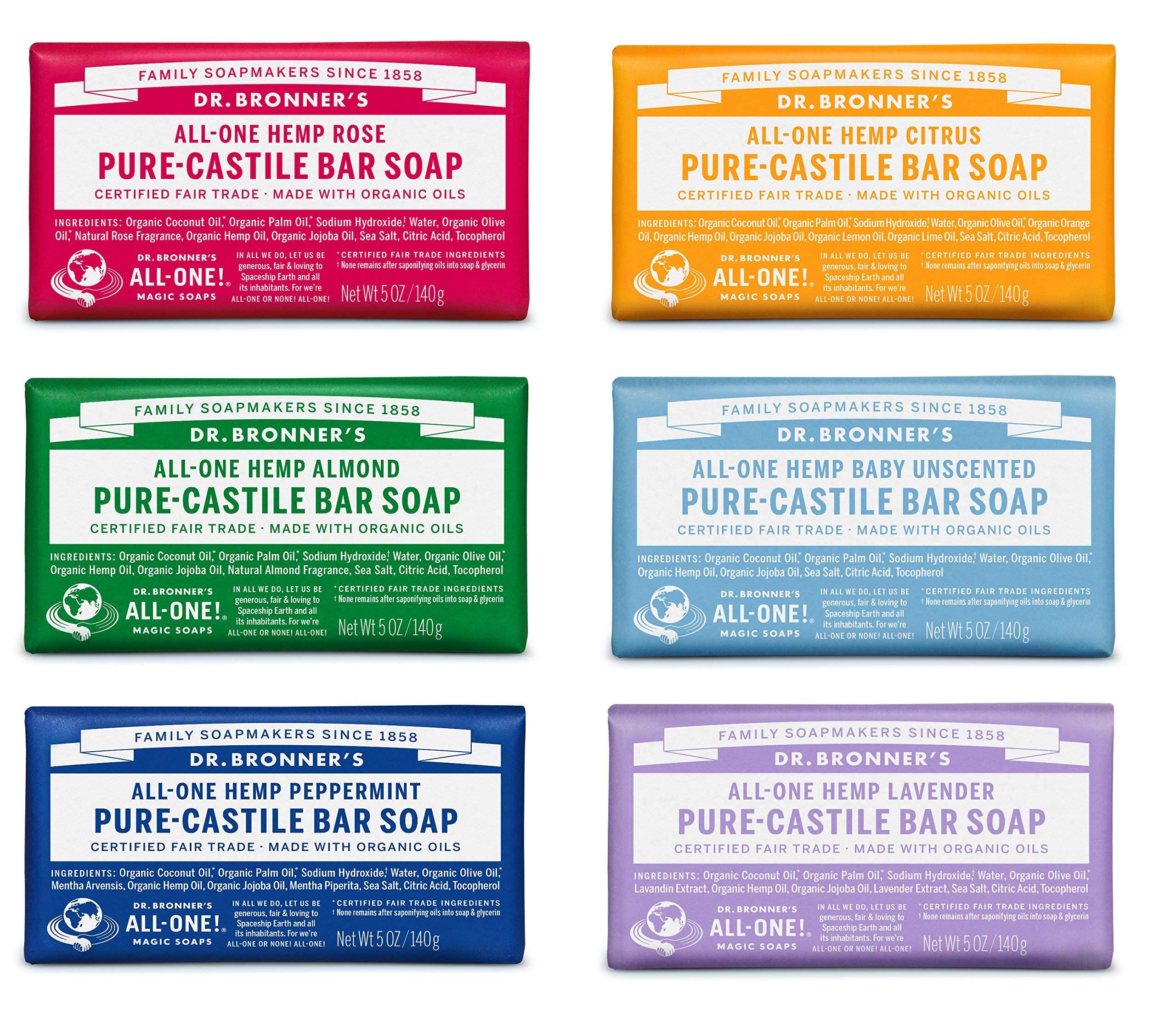 Dr. Bronner's Pure-Castile Bar Soap Variety Gift Pack- 5oz, 6 Pack by Dr. Bronner's