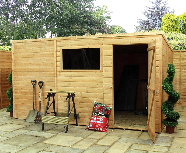 3 x 2,5 m Cobertizo de jardín Tongue and Groove de una puerta hecho de madera con 1ventana (10mm sólido piso OSB)