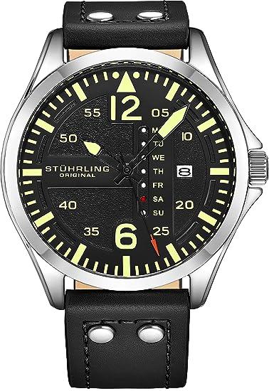 Stührling Original - Reloj analógico deportivo para hombre, de acero inoxidable, estilo aviador, configuración rápida de fecha y hora, correa de piel de ...