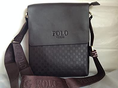 Polo VIDENG - Bolso al Hombro para Hombre Dark Brown Checked Draft ...
