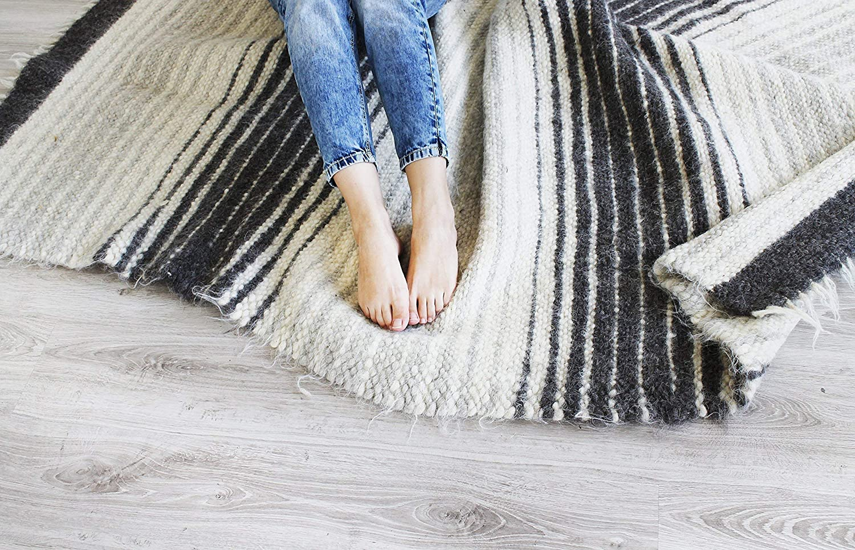 Woven Wool Area Rug Gray/Grey Striped for Living Room Natural Carpet Modern/Scandinavian Home Decor