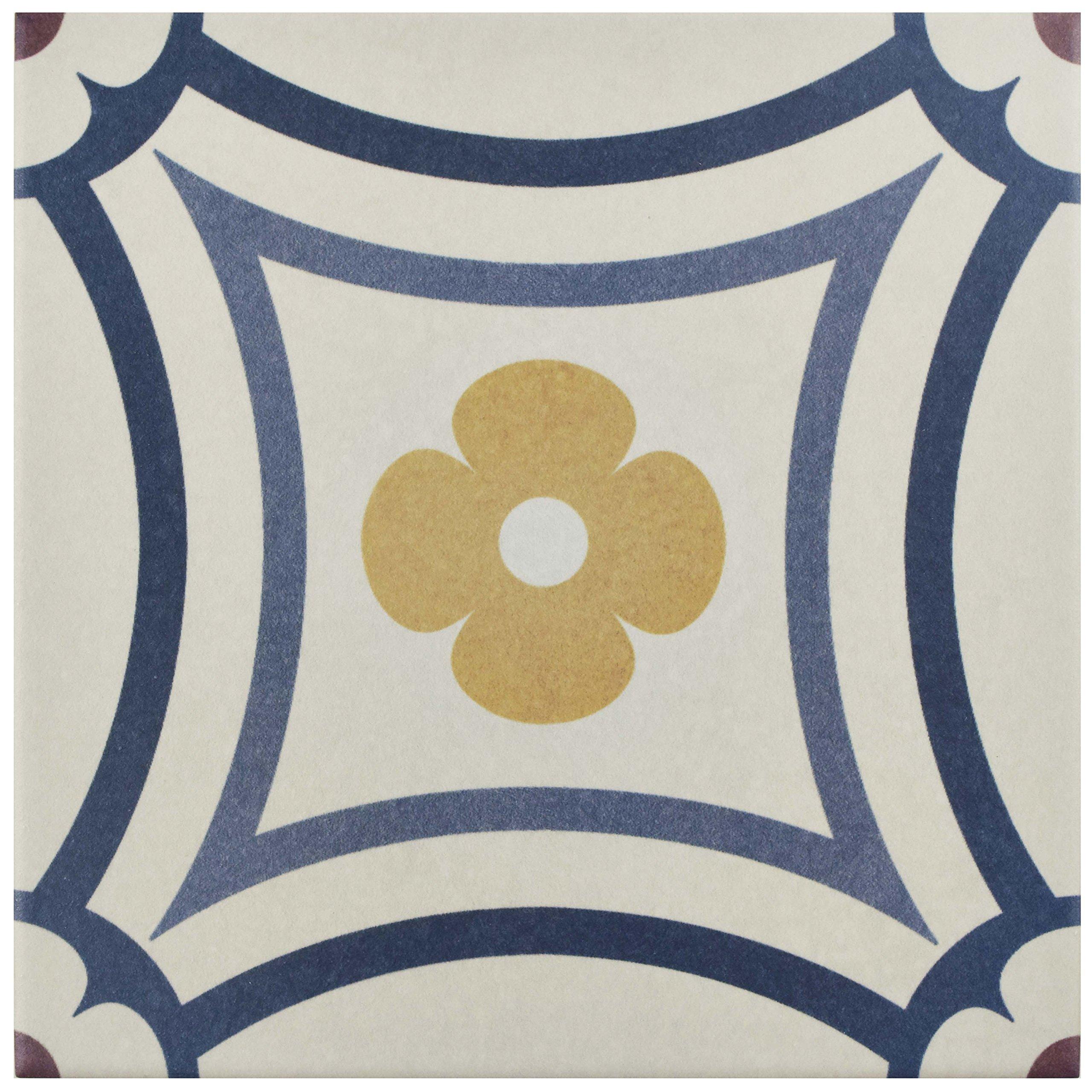 SomerTile FEQ8CAST FEQ8CPBT Anacapri Porcelain Floor and Wall Tile, 7.875'' x 7.875'', Saint Tropez, 25 Piece