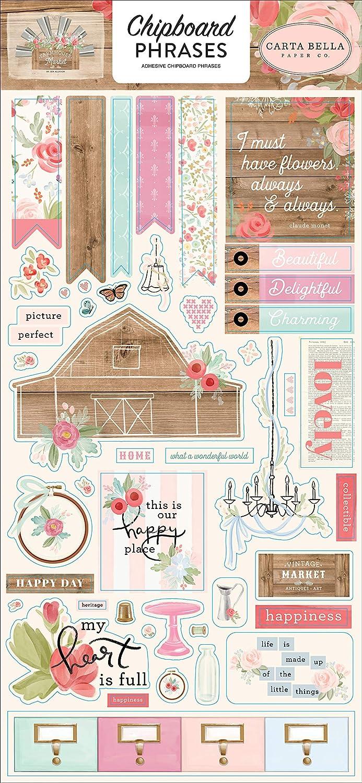 pink black teal cream woodgrain Carta Bella Paper Company Farmhouse Market Puffy sticker