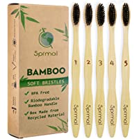 Sprmal Natural Bamboo Toothbrush-Pack of 5,Individually Numbered,Eco-Friendly、Organic、 Biodegradable Bamboo Handle and BPA Free Soft Nylon Bristles For Sensitive Gums.