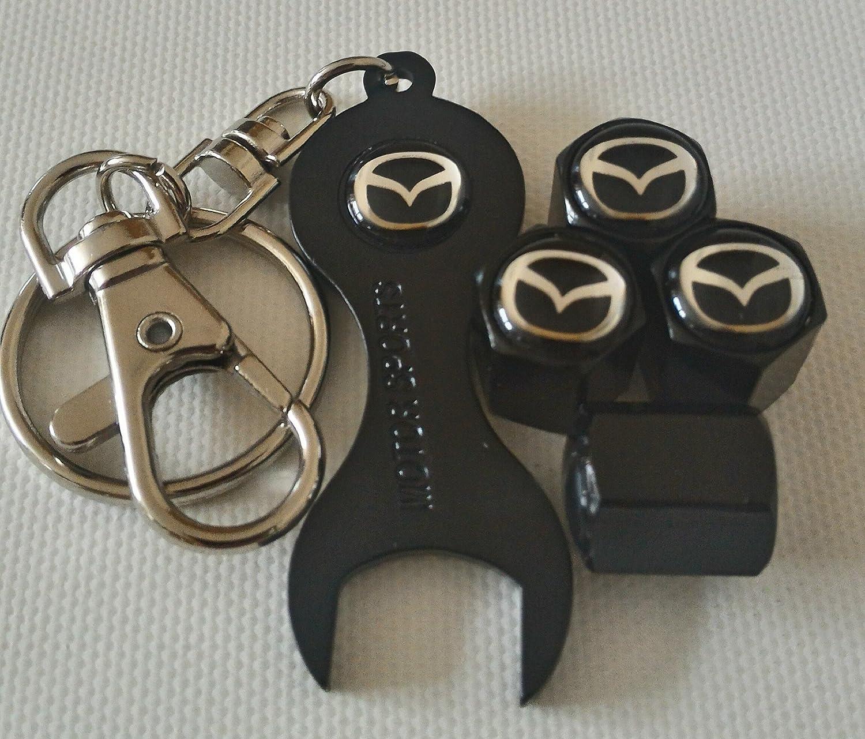 MAZDA Wheel Valve Dust Caps EXCLUSIVE TO US WITH black SPANNER KEYCHAIN ALL MODELS MAZDA2 SPORT CX-3 MX-5 MAZDA3 MAZDA6