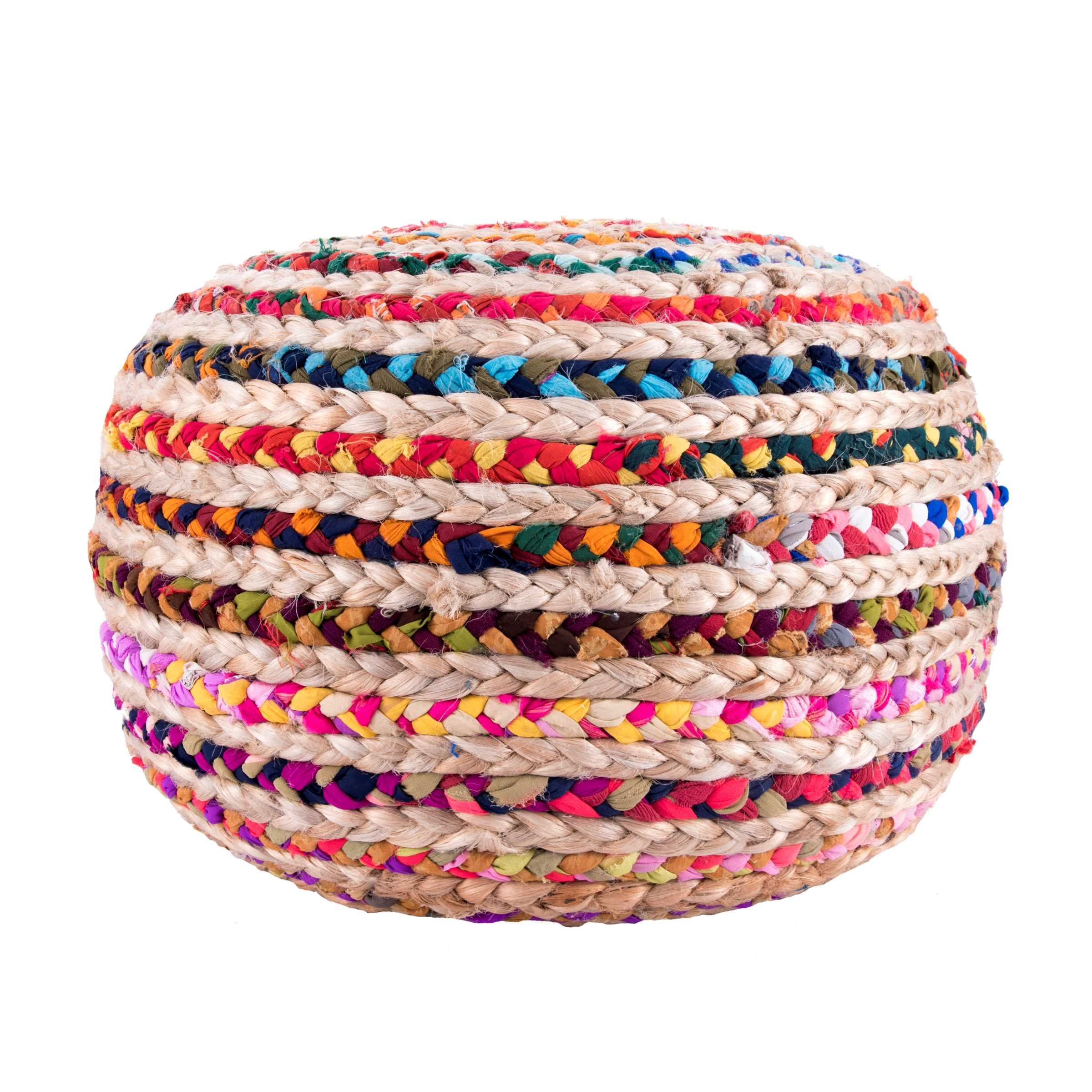 Knitted Round Pouf, Multi
