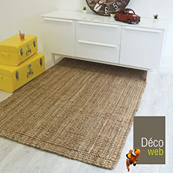 decoweb tapis naturel bohme 100 jute naturel 160 x 220 cm - Tapis En Jute