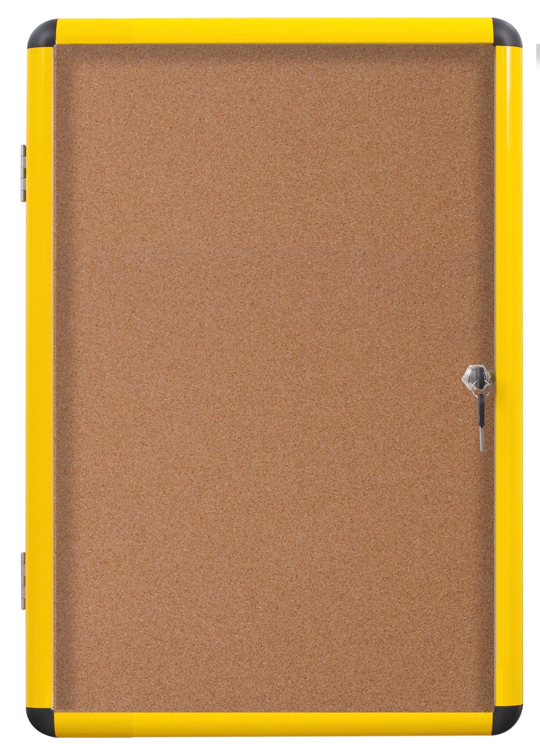 MasterVision Industrial Enclosed Cork Board, Single Door, Yellow Aluminum Frame, 28'' x 38.25'' (VT6301611511)