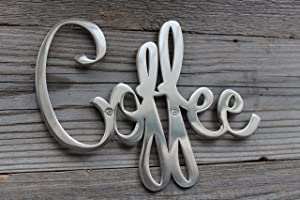 "Way Of Hearts Metal Coffee Sign, Hand Polished Stainless Steel Wall Decor, Farmhouse Decor Coffee Bar Sign, Metal Cut Out Wall Art, Sign for Coffee Station, Silver, 9.45"" ☓ 6.9"" ☓ 0.1"""