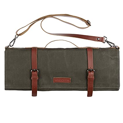 aee47bb83a9 Chef Knife Roll Bag - Handmade Waxed Canvas and Leather Knife Bag Stores 10  Knives + Zipper Pocket and Shoulder Strap (Army Green)