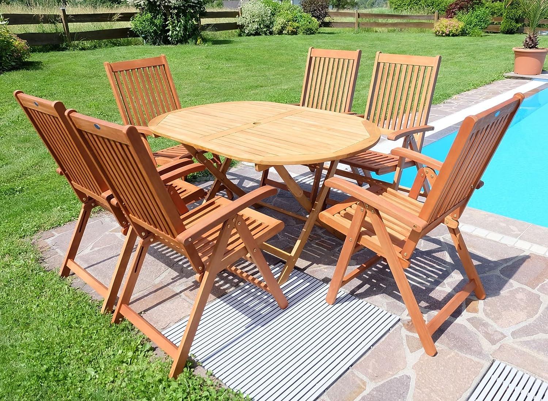 Gartengarnitur Terassengarnitur Gartenset Gartenmöbel Holz Eukalyptus Tisch  150x90cm + 6 Hochlehner 7 Fach Verstellbar LIMA (ACHTUNG TISCHFARBE HELLER)  Von ...