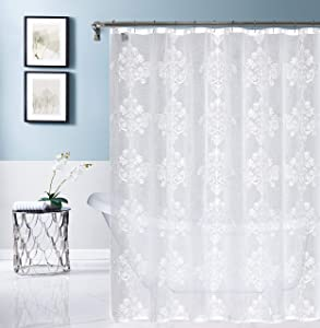 Dainty Home Amelie Embroidered Shower Curtain, White