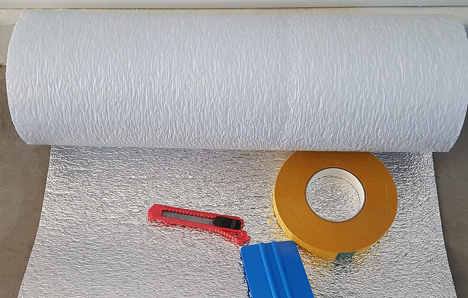 R Value 8.0 Made in USA New and Improved Heavy Duty Double Sided Tape Also FITS 18 X 7 Wide HIGH Ant NASA TECH White Reflective Foam Core 2 Car Garage Door Insulation Kit 18 Ft x 8 Ft